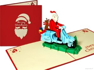 Pop cards popup cards - funny Santa Claus on scooter motorbike Christmas card pop up card