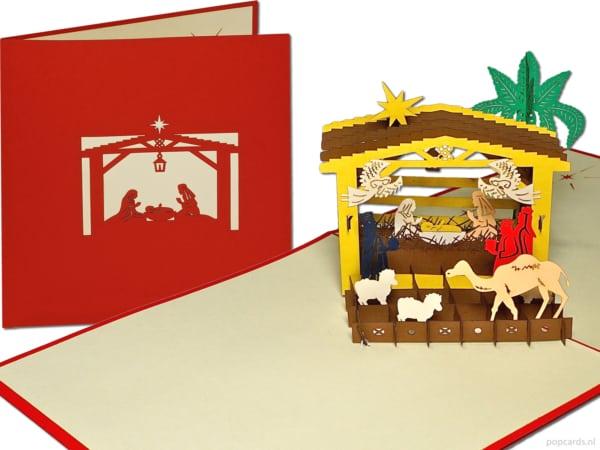 Popcards popup cards - natividad escena natividad inn nacimiento iglesia bebé niño jesús robó navidad Belén joseph maría inmaculada concepción tarjeta de navidad