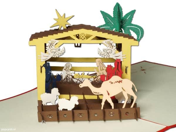 Popcards Popcards Cartes - Crèche de Noël Inn naissance église bébé nourrisson Jésus a volé Noël Bethléem Joseph Marie conception immaculée carte de Noël