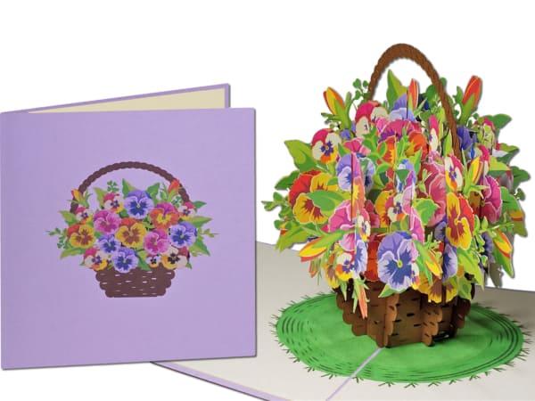 Popcards.nl pop-up kártya üdvözlőlap csokor hegedű ibolya körömvirág virág virág kosár 3D kártya