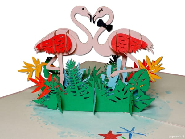 Popcards popup cards - pink flamingo in love flamingo & #039; s nature 3d card
