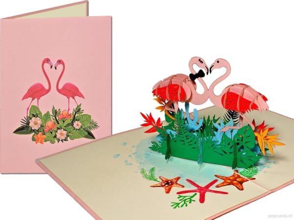 Popcards popup cards - pink flamingo in love flamingos nature valentine love dulce matrimonio cohabitando pareja 3d card