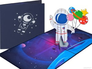 Popcards popup cards - Space space astronaut cosmonaut space travel spaceman spaceman NASA spacecraft spacewalk moon landing moon pop up card