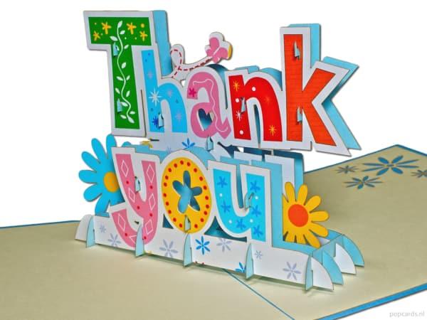 Popcards popup-kort - tak breve ord tak tak tak tak tak tak tak tak kort store bogstaver 3d-kort
