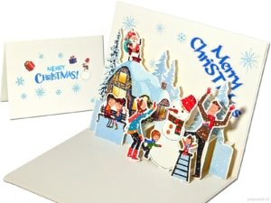 Popcards popup cards - Christmas party winter fun Snow Snowman Winter Children's fun Christmas card 3d card
