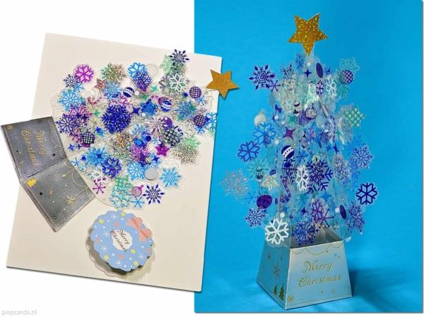 Kerstkaart losstaande Kerstboom met blauwe glanzende versieringen pop-up kaart 3D wenskaart