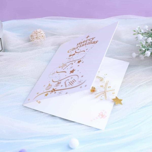 Kerstkaart losstaande Kerstboom met gouden glanzende versieringen pop-up kaart 3D wenskaart