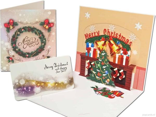 Popcards popupkaarten – kerstkaart Merry Christmas open haard met versiering kerstboom 3d kaart
