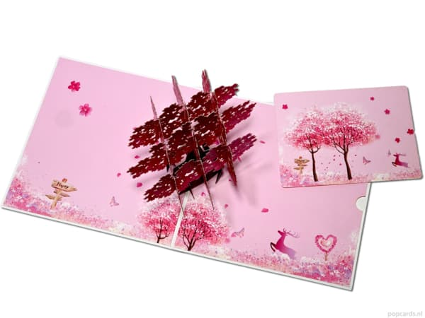 Popcards popup cards - greeting card Sakura cherry tree pink wise tree of life 3d card