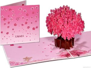 Popcards Popup Cards - Carte de voeux Sakura Cherry Tree Rose Sage Tree of Life 3D Card