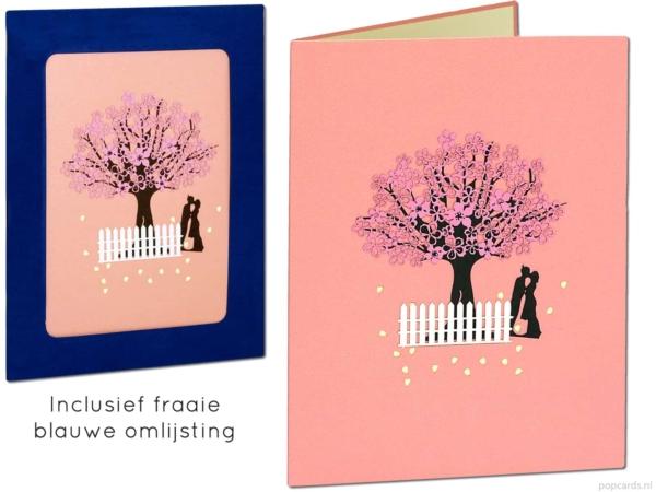 Popkort popup-kort - gratulasjonskort Sakura valentine kjærlighet kirsebærtre rosa livets kjærlighetsforslag ekteskap forlovet gifte seg 3d-kort