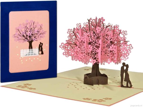 Pop-Karten Popup-Karten - Grußkarte Sakura Valentinstag Liebe Kirschbaum rosa Baum des Lebens in Liebesvorschlag Ehe verlobt heiraten 3D-Karte