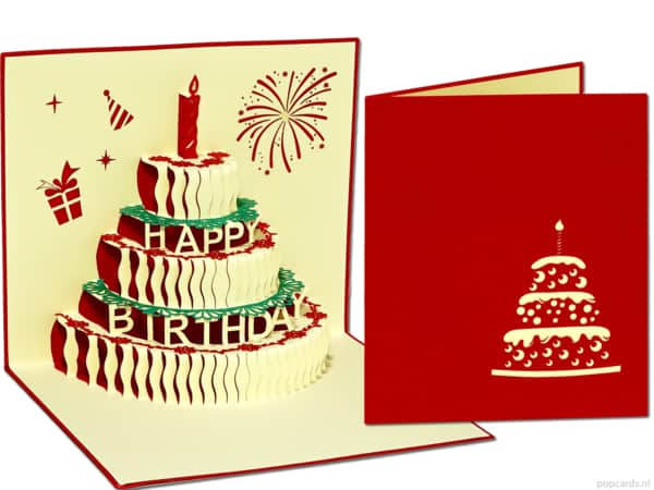 Popcards popup cards - greeting card birthday card birthday cake cake red 3d card
