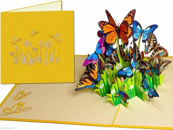 Popcards popupkaarten –Kleurrijke Vlinders Bloemen Vrijheid Felicitatie Verjaardagwenskaart 3d kaart
