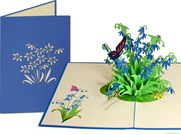 Popcards popup cards - Birthday card Blue Flowers Star hyacinth Butterfly Love Friendship Congratulation Get well soon greeting card 3d card