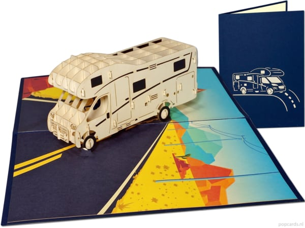 Popcards popup cards - Alcove Camper Camper Caravan Camping Holiday Freedom Pension tarjeta de felicitación integral para autocaravanas semi-integradas tarjeta 3d