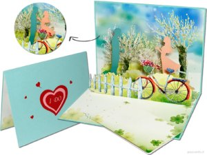 Pop cards popup cards - Couple in love couple romance bicycle dog valentine wedding card love love card valentine live together 3d card