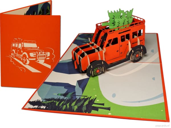 Popcards Pop-Up Cards - Off-road Landrover 4-Wheeldrive Off-road Pensjon Ferie Bursdag Gratulasjon jeep 4wd off-road off road off-road kjøring hilsen 3d-kort