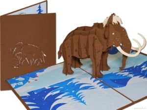 Popcards popup-kort - Uldig mammut fra pleistocænen Dyredag Dinosaur Elefant elefant elefanter Mammuthus lykønskningskort 3d-kort