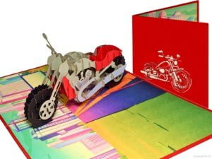 Popcards Pop-Up Cards - Motorbike Motorcycle Route 66 Retirement Vacation Birthday Congratulations motorcycling harley davidson honda goldwing midlife crisis greeting card 3d card