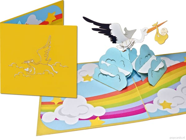 Popcards popup cards - Pregnant Baby card Birth Boy Girl Stork brings baby child bird birth card greeting card 3d card