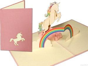 Popcards popup cards - White Unicorn Unicorn with Rainbow horse Birthday Girls Congratulatory greeting card 3d card