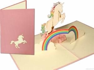Popcards popupkaarten –Witte Eenhoorn Unicorn met Regenboog paard Verjaardag Meisjes Felicitatiewenskaart 3d kaart