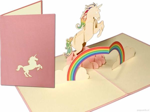 Cartes Popcards Popcards - Licorne Licorne Blanche avec Cheval Arc-en-ciel Anniversaire Filles Carte de Voeux Félicitations