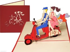 Popcards popup cards - - Scooter Vespa Oldtimer Roma Milano City trip Italy In love Holiday couple greeting card 3d card
