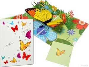 Popcards popup cards - yellow-orange tip yellow butterfly butterflies butterfly greeting card 3d card