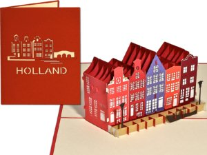 Popcards.nl pop-up card greeting card Amsterdam Holland canal houses canal canals houses Haarlem Utrecht Delft Alkmaar postcard 3d card 3d card canal houses canal house canals Netherlands