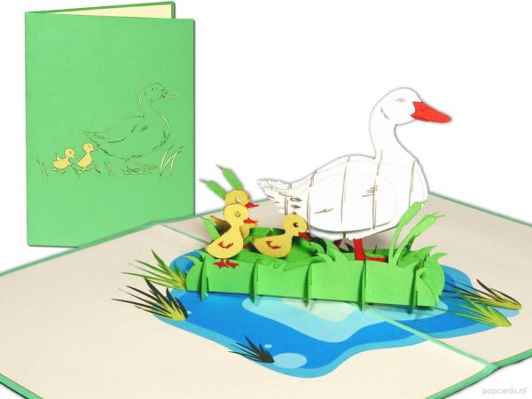 Popcards.nl mor gåsen med små barn kycklingar födelsekort vårfödelse vänskap 3d-kort pop-up kort gratulationskort