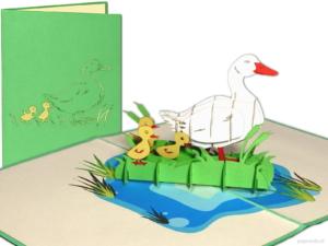 Popcards.nl Mutter die Gans mit kleinen Kindern Küken Geburtskarte Frühling Geburt Freundschaft 3D-Karte Pop-up-Karte Grußkarte