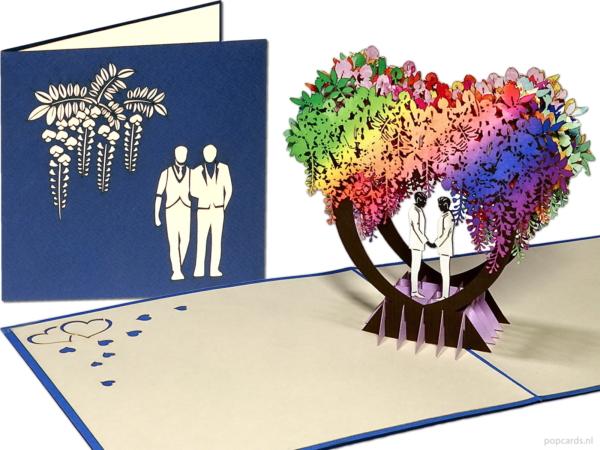 Popcards.nl tarjeta emergente matrimonio gay gay matrimonio de dos hombres homosexuales casarse cohabitación contrato de convivencia asociación registrada amor enamorado tarjeta de felicitación del día de san valentín tarjeta 3D