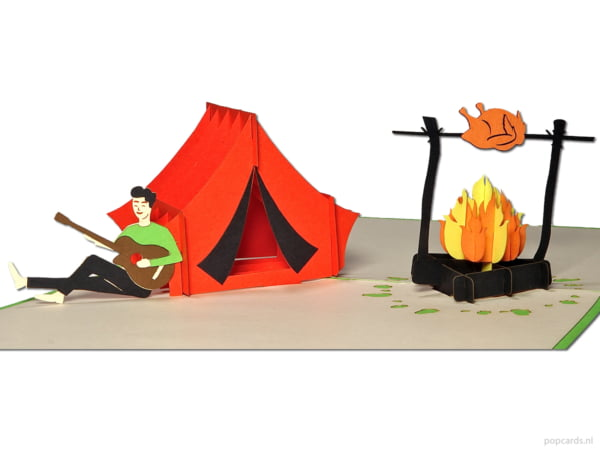 Popcards.nl pop up card camping holiday camping freedom nature barbecue bbq glamping campfire greeting card 3D card