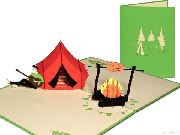 Popcards.nl pop up-kort campingferie camping frihet natur grill bbq glamping bål gratulasjonskort 3D-kort