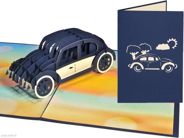Popcards.nl Volkswagen Beetle Beetle Herbie 53 nya skalbagge klassisk bil bil 3d-kort pop-up kort gratulationskort