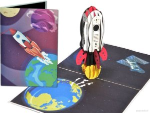 Popcards.nl rocket rocket Elon Musk SpaceX NASA space travel space shuttle spaceship Mars stars universe astronaut space travel space station 3d card pop up card greeting card