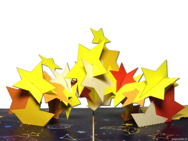 Popcards.nl stars stars happiness falling star rising star anniversary birthday starry sky a star is born heaven bright star universe comfort 3d card pop up card greeting card