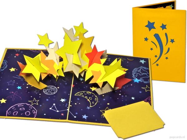 Popcards.nl stelle stelle felicità stella cadente stella nascente anniversario compleanno cielo stellato è nata una stella paradiso stella luminosa universo comfort carta 3d biglietto pop up biglietto di auguri