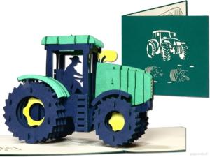 Popcards.nl pop up-kort traktor jordbrukare jordbrukare jordbruk protest gård jordbruk djuruppfödning Case-IH Challenger CLAAS DEUTZ-FAHR Fendt John Deere Massey Ferguson New Holland gratulationskort 3D-kort
