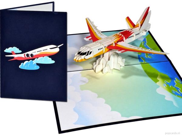 Popcards.nl resa på en resa jetplan flygplan boj 737 757 767 777 flygbuss A300 A320 A330 A350 flygvärdinna piloter pilot semester jetplan flyg resa flygbolag KLM Iberia 3D-kort flygvärdinna semester pop-up kort gratulationskort