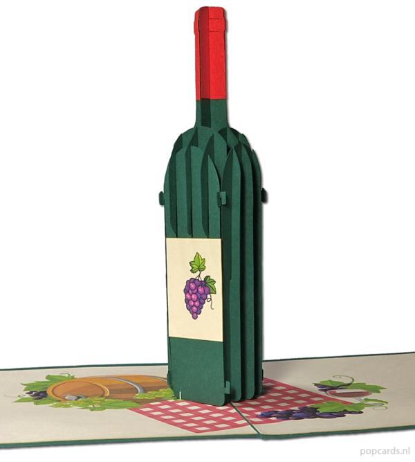 Popcards.nl pop-up-kort rødvin hvidvin picnic frokost natur festlig forår picnic glas vin invitation part fest middag fødselsdag lykønskningskort 3D-kort