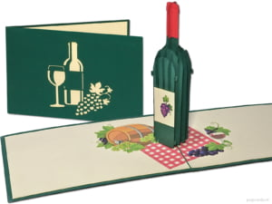 Popcards.nl pop-up card red wine white wine picnic lunch nature festive spring picnic glass of wine invitation party dinner party birthday greeting card 3D card