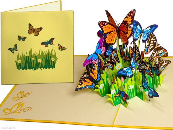 Popcards popup cards - Colorful Butterflies Flowers Freedom Congratulation Birthday greeting card 3d card