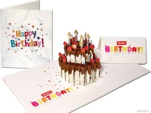 Popcards Pop-Up Cards - Festkage med chokolade, jordbær og gyldne lys Tillykke med fødselsdagen fødselsdagskage fødselsdagskort fødselsdagskort Tillykke pop-up-kort 3D lykønskningskort