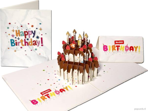 Popcards popupkaarten – Feestelijke Taart met chocolade, aardbeien en gouden kaarsen Happy Birthday Verjaardag verjaardagstaart verjaardagskaart Felicitatie pop-up kaart 3D wenskaart