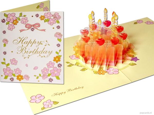 Popcards popupkaarten – wenskaart verjaardagskaart verjaardagstaart taart met kaarsen kaarsjes cake kristal glanzend 3d kaart