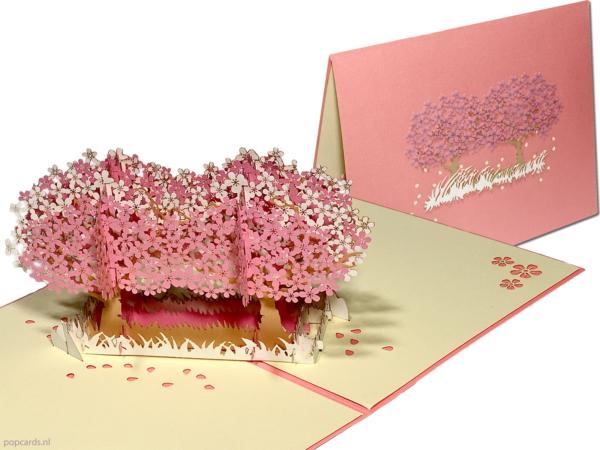 Popcards.nl Popup-Karte - doppelte Sakura Kirschblüte rosa Kirschbaum Blumen Popup-Karte 3D-Grußkarte
