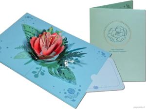 Popcards popupkaarten – Verjaardagskaart Huwelijk Bloemen Pioen Pioenroos papaver klaproos roos pop-up kaart 3D wenskaart